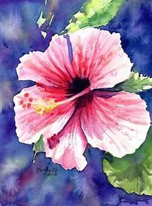 Original Watercolor Painting Kauai Hibiscus Tropical Flower