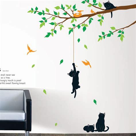 autocollant pour cuisine stickers muraux fleurs sticker arbre et chats ambiance