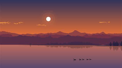 Minimal Lake Sunset, Hd Nature, 4k Wallpapers, Images