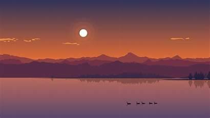 Sunset Lake Minimal Wallpapers Nature Minimalism 4k