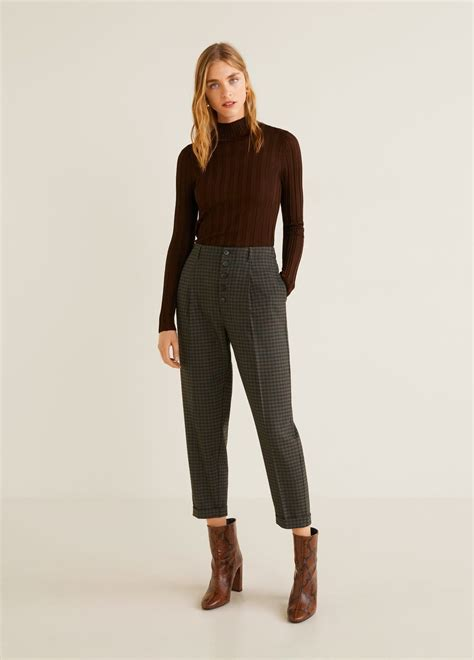 straight checked pants women  images checkered