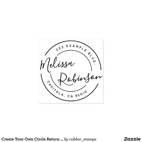 create   circle return address script  rubber
