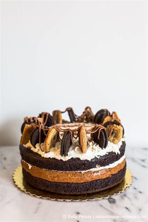vegan cookie cake  bourbon caramel  buttercream