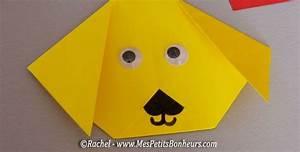 Bricolage Facile En Papier : chien origami pliage papier avec yeux mobiles projet ~ Mglfilm.com Idées de Décoration