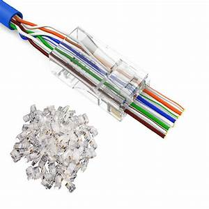 100 X Rj45 Modular Plug Network Connector For Utp Cat5