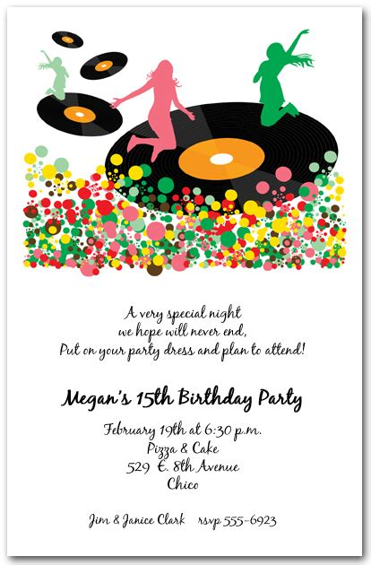 spin  vinyl records party invitations