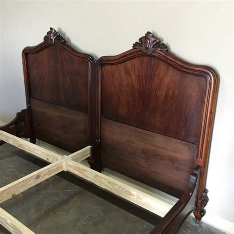 antique king size french louis philippe solid mahogany bed