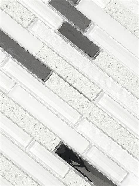 Modern White Glass Quartz Mosaic Tile   Backsplash.com