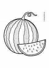 Watermelon Coloring Fruits Drawing Fruit Pages Sheets Printable Colouring Line Apple Custard Template Clipart Vegetable Berries Hat Easy Getdrawings Draw sketch template