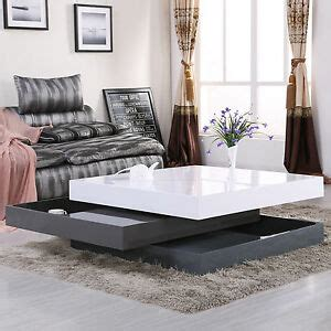high gloss square storage rotating coffee table  layers