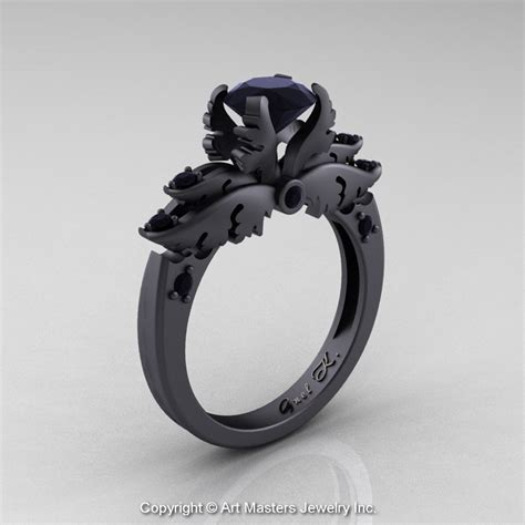 classic 14k matte black gold 1 0 ct black diamond solitaire engagement ring r482 14kmbgbd