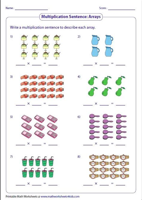 writing multiplication sentences arrays klasse  mathe