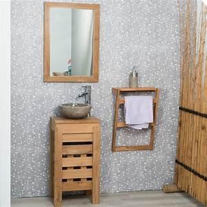 Petit Meuble Salle De Bain : meuble sous vasque simple vasque en bois teck massif zen rectangle naturel l 40 cm ~ Teatrodelosmanantiales.com Idées de Décoration
