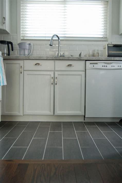 Kitchen Flooring Cork Laminate Wood Look Gray Tile Floor