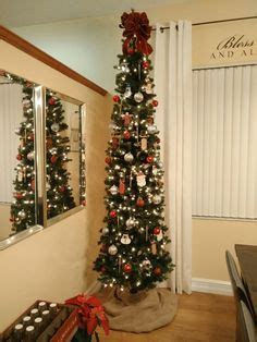 slim christmas tree decoration gold red white doves