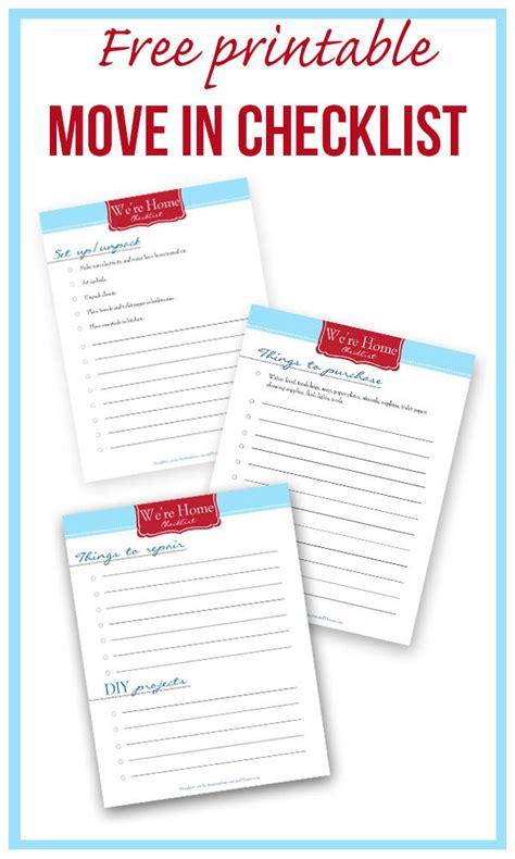 New Home Checklist Printable