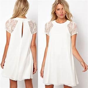 2015 Summer women clothing lace short sleeve white back ...
