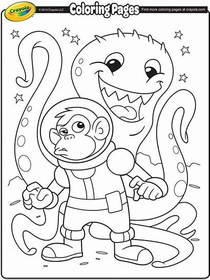 Coloring Pages Crayola Space Alien Astronaut Monkey
