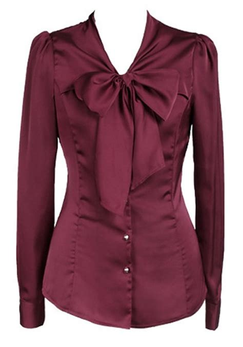 polyester blouses single breasted bow pleated polyester blouse blouses