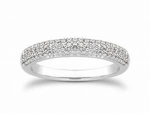 triple row micro pave diamond wedding ring band in 14k With diamond pave wedding ring