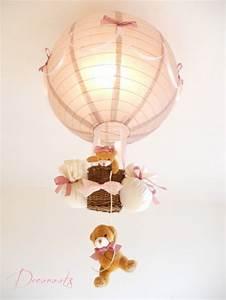 Lustre Montgolfière Bebe : lampe enfant b b montgolfi re ours et oursonne peluche rose pastel taupe vieux rose marron ~ Teatrodelosmanantiales.com Idées de Décoration