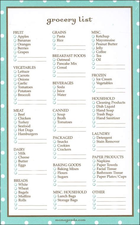 common grocery list grocery list template