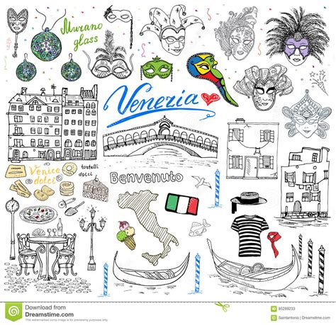 venice italy sketch elements hand drawn set  flag