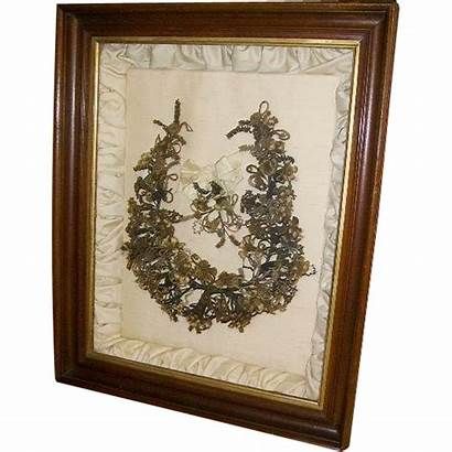 Hair Victorian Wreath Mourning Antique Framed 1800