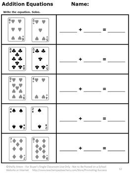 kindergarten addition  subtraction worksheets deck