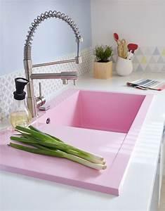 Evier Pour Cuisine : un vier encastrer rose pour gayer la cuisine leroy merlin ~ Carolinahurricanesstore.com Idées de Décoration