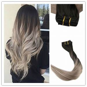 Balayage Ombré Blond : ombre balayage remy hair ash blonde clip in human hair ~ Carolinahurricanesstore.com Idées de Décoration
