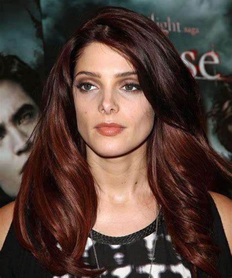 ashley greene long wavy dark red  red  tone hairstyle