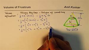 Frustum Volume Formula Derivation As Difference Of Cubes From Basics