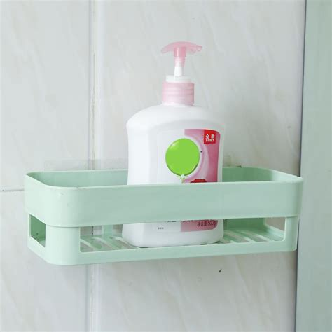 plastic shower plastic bathroom kitchen corner wall storage rack