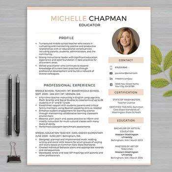 teacher resume template  photo  ms word