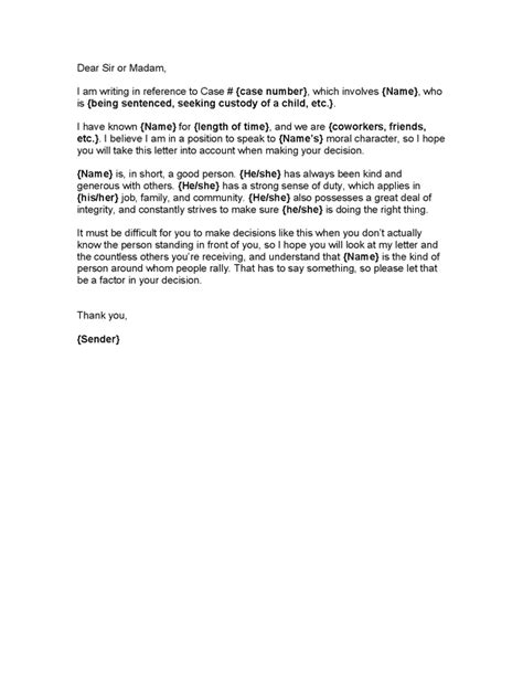 character letter to judge character letter for judge character reference letter 27689