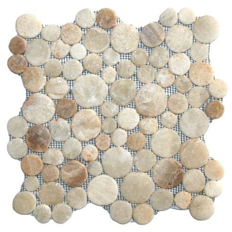 pebble mosaic tile glazed mixed quartz moon mosaic tile 12 quot x 12 quot river rock stone tile