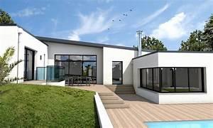 maison moderne sejour deplafonne auray depreux construction With photo maison contemporaine plain pied