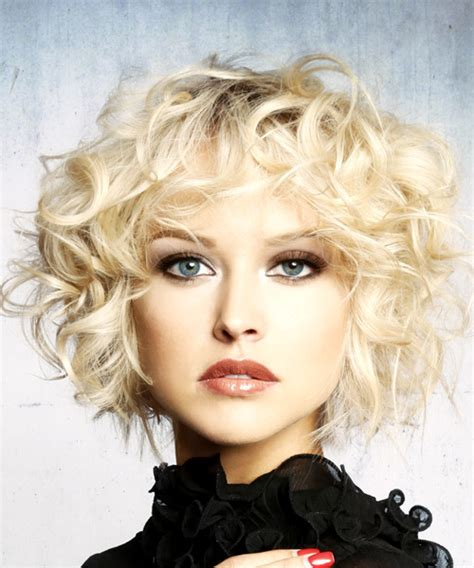short curly light platinum blonde shag hairstyle  layered bangs
