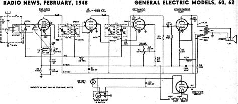 General Electric Wiring Schematic by General Electric Models 60 62 Schematic Parts List