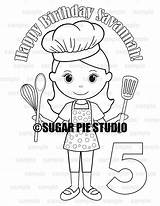 Baker Coloring Chef Activity Pdf Birthday Favor sketch template