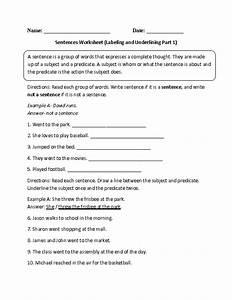 Labeling And Underlining Sentences Worksheet