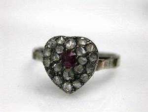 Diamond Designs Antique Ruby And Diamond Heart Ring