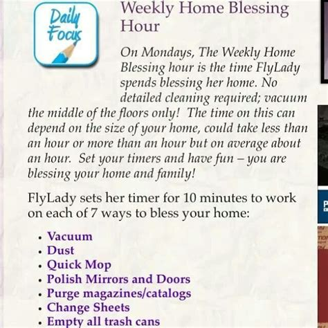 flylady cleaning fly lady schedule schedules routines routine zone commandments checklist clean daily list monday