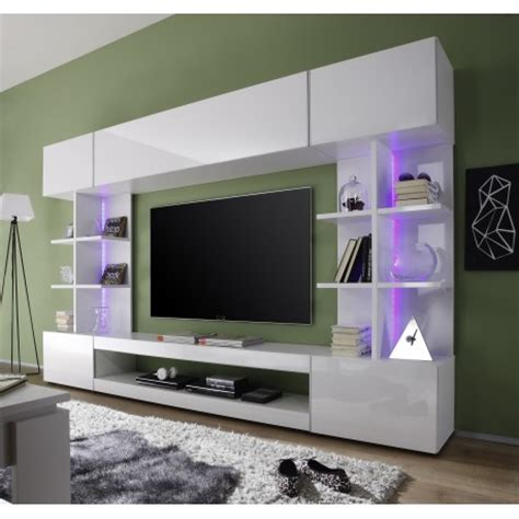 Tres   modern TV wall set with RGB led lights   Wall units   Sena Home Furniture