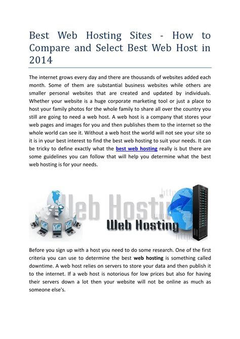 web hosting sites   compare  select  web