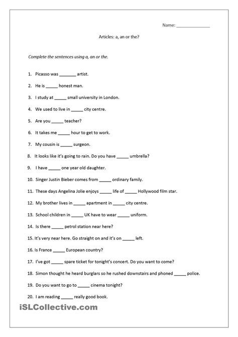 articles worksheet a an the includes answers teaching 2nd grade english worksheets