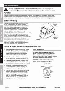 Function  Before Welding  Shade Number And Grinding Mode