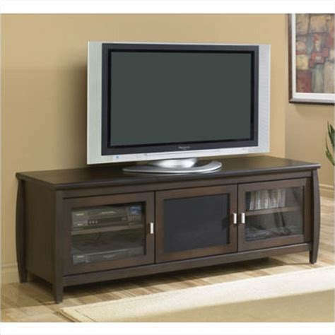 60 inch tv stand tech craft veneto series rounded tv cabinet for 48 60 inch screens walnut swp60