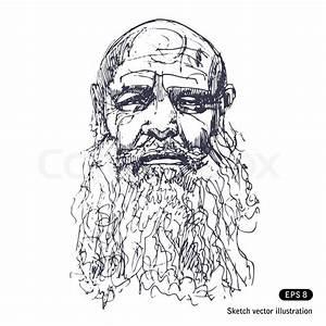 Old man with a beard | Stock Vector | Colourbox
